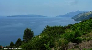 Views from Dingač towards Orebic and Korcula