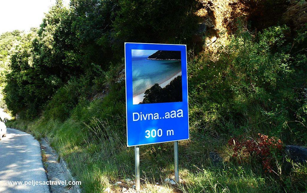 Road sign of Divna Beach, Peljesac