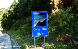 Road sign of Divna Beach, Peljesac