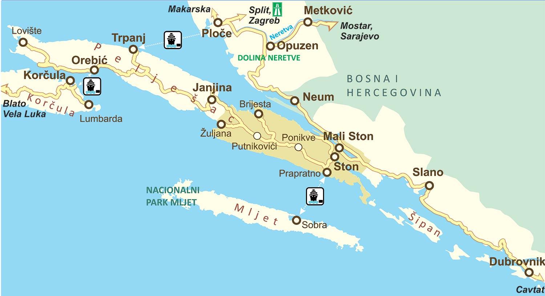 Map of Peljesac and Surroundings