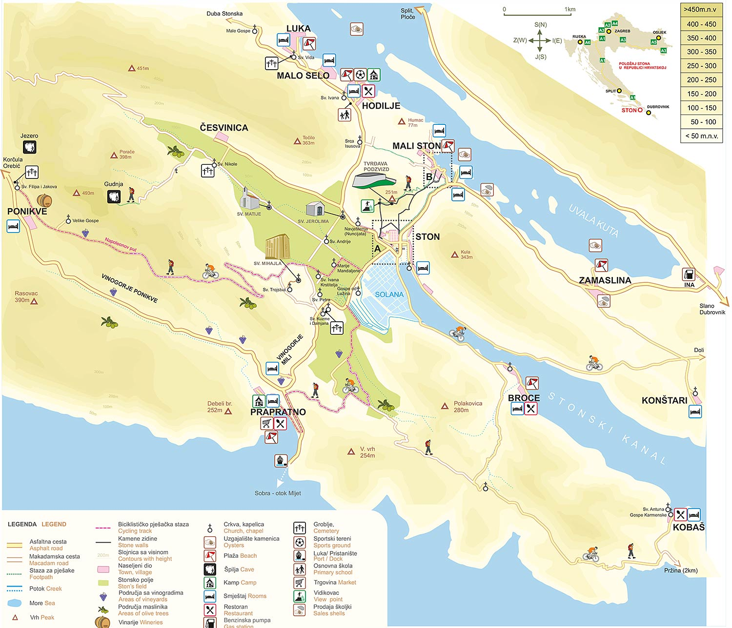Visitors Map of Ston and Nearby Places