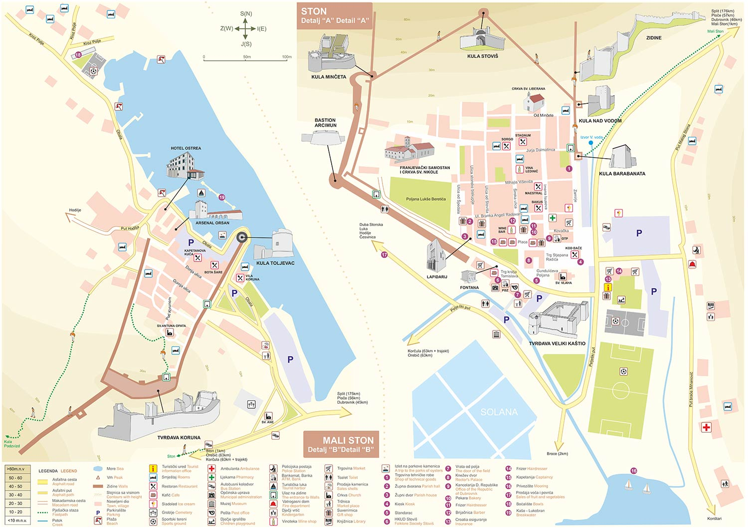 Visitors Map of Ston and Mali Ston